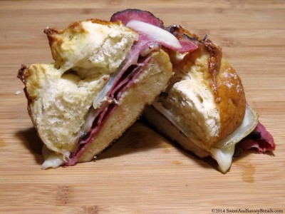 3. Pretzel Bread Roll with Pastrami and Provolone