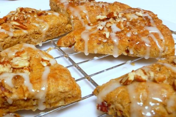 Sweet Potato Pecan Scones drizzled with maple glaze