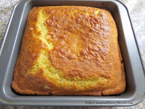 Sweet Cornbread fresh out of the oven.