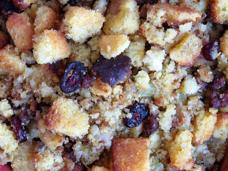 close up of cranberry cornbread stuffing