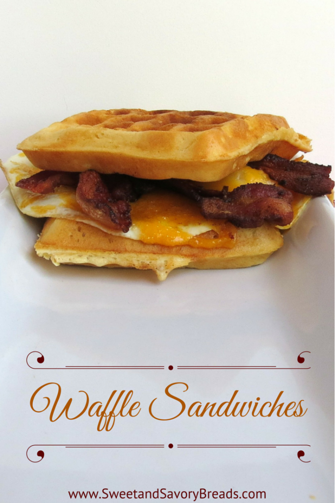 Waffle Sandwiches with Bacon, Eggs and Cheese.  Perfect for Breakfast in Bed on Valentines Day #breakfastinbed #valentinesday