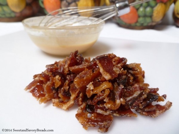 Candied Bacon Bits and Peanut Butter Glaze
