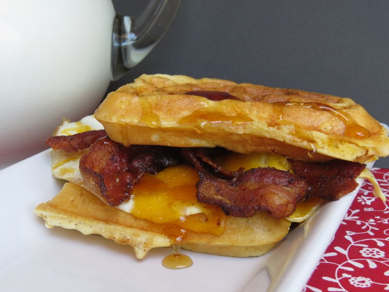 Waffle Sandwich with eggs, bacon and cheese. #breakfast inbed