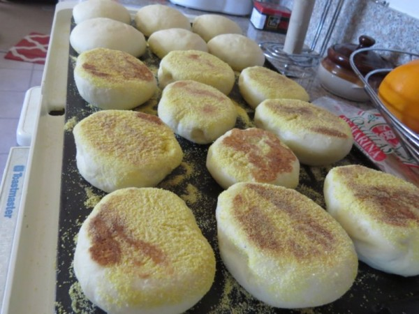 Browned english muffins